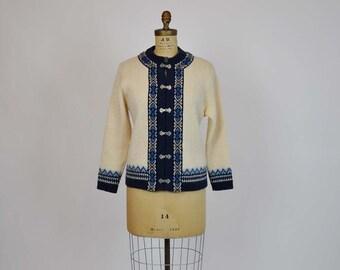 60s sweater /  Norwegian Woods Vintage 1960's Nordic Cardigan Sweater