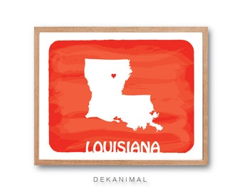 LOUISIANA Map - RED - Personalized Custom Color Watercolor Style Love State Map Wedding Birthday Anniversary GIft Children Kids Wall poster