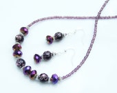 SET - PURPLE Etched Metal & Facetted Bead Necklace and Earrings