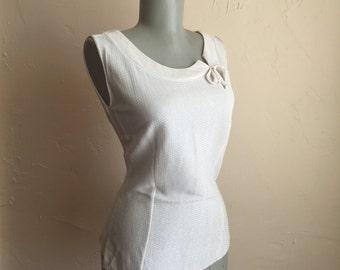 Vintage 1950s Deadstock Silver Lurex Blouse M
