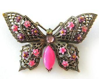 Vintage Butterfly Brooch Pin / 1960s Vintage Jewelry / Pink Enamel Flowers Rhinestone Eyes