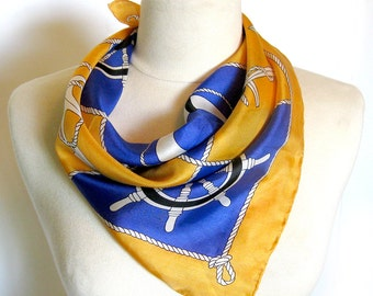 Vintage Nautical Theme Silk Scarf with Anchors in Gold and Navy - Hand Rolled Hem