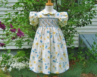Smocked girls dress, white floral dress, size 4/4T, blue flowers, party dress, toddler dress, ready to ship, special occasion, OOAK