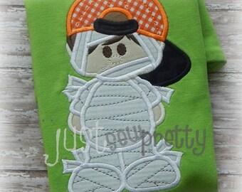 Mummy Boy Halloween Embroidery Applique Design