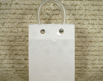 Embossed Handle Plastic Mini Tote Bag - White , Party Favor Bag , Set of 12