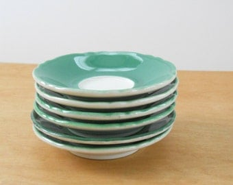 Vintage Restaurant Ware Saucers • Shenango China Saucers • Green Trim 1970s - 80s Saucers