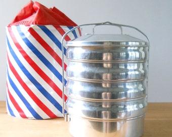 Vintage Picnic Set Stackable • Aluminum Food Carrier with Bag • Mid Century Regal Metal Food Tote
