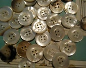 """20 vintage mother of pearl buttons antique 7/8"""" 4 holes new old stock"""