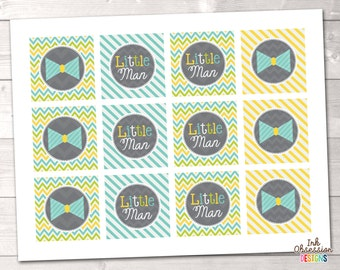 Little Man Blue Bowties Cupcake Toppers Printable PDF - INSTANT DOWNLOAD