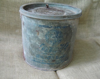 Vintage Minnow Bucket Advertising Minnow Bucket Galvanized Metal Bucket 1960s