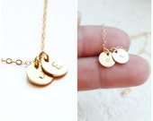 Tiny Gold Initial Necklace 1, 2 or 3 Initial Necklace, Personalized Necklace, Dainty Gold Necklace, Letter Necklace, Bridesmaid Necklace
