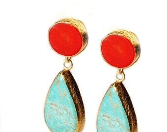 15% Discount Turquoise and Coral Earrings