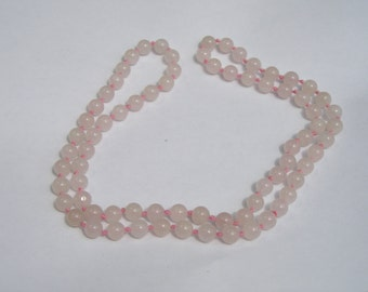 Pretty Pink Rose Quartz Beaded Hand Knotted Necklace