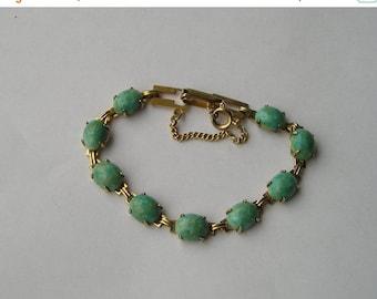 SALE Vintage Robins Egg Blue Glass Gold Tone Link bracelet