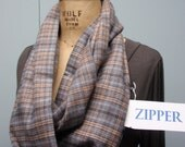 Secret Agent Scarf Infinity Design with Zipper Pocket Paid Flannel Gray Taupe