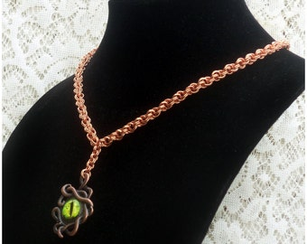 Creepy Eye Necklace, Tentacle Necklace, Copper Necklace, Copper Chainmaille, Double Spiral Necklace