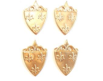 4 Brass Heraldic Shield Stampings with Fleur de Lis
