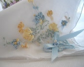 Bride MOB Groom Bouquet Wrap Keepsake Gift Silk Ribbon Embroidered Handkerchief Bouquet Wrap Blue And Yellow Handmade by handcrafdtusa Etsy