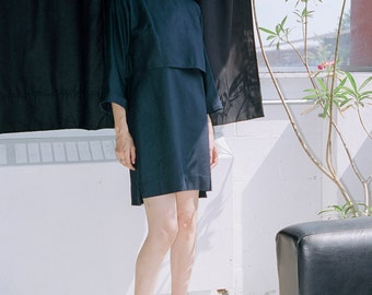 Dress bi-level Raw silk Navy ((SALE)) last sizes M and L