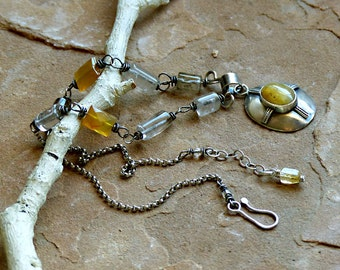 Golden Rutilated Quartz in Sterling Silver Pendant with Yellow Carnelian, Grayish Quartz & Sterling Chain Necklace . Rustic Style Jewelry