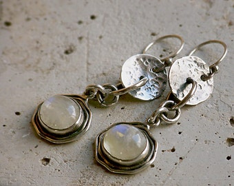 Rustic Hammered Sterling Silver Discs with Flashy Moonstone Dangles Earrings . Tribal Wabi Sabi Southwestern Boho Jewelry