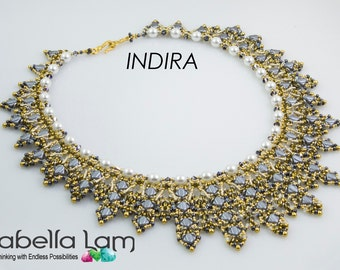 INDIRA Silky SuperDuo and O-Beads Beadwork Necklace Pdf tutorial instructions for personal use only