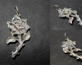 Rose pendant - Sterling silver