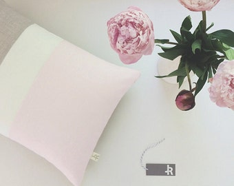 Pastel Pink Color Block Decorative Pillow with Cream and Natural Linen Stripes by JillianReneDecor, Spring Home Decor, Pale Pink