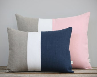 Color Block Pillow Cover Set of 2 - (12x16) Navy and (16x20) Pink by JillianReneDecor - Modern Home Decor - Striped Trio - Colorblock SS2016
