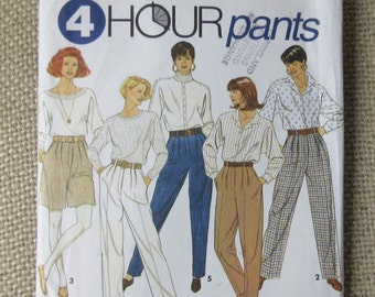 Vintage  Simplicity 4 HR Sewing Pattern Size 6, 8, 10  High Waist Pants Shorts Pleated Wide Leg UNCUT 7941 Factory Folds 1996