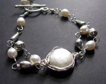 Pearl Bracelet, Pearl and Sterling Silver Bracelet, Wire Wrapped Pearl Bracelet, Wedding Jewelry