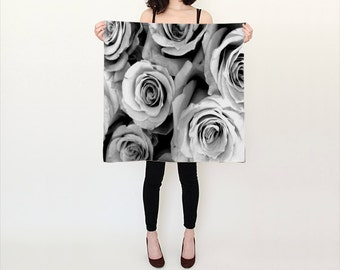 ROSE Printed Scarf, Black White Silk Scarf, Flower Scarf, Wearable Art, Fashion, Accessories, Drama Silk Shawl, Women,Square Scarf,Gift Idea