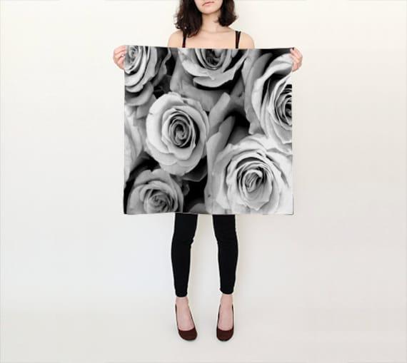 ROSE Printed Scarf, Black White Silk Scarf, Flower Scarf, Wearable Art, Fashion, Accessories, Drama Silk Shawl, Women,Square Scarf,Gift Idea