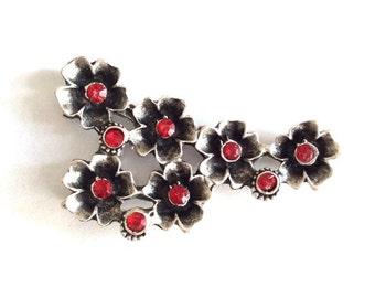 1pc -Matte Silver plated Flower rhinestone  Pendant or earrings-55x28mm-(402-033SP)
