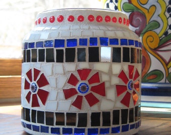 Red White Blue and Black Stained Glass Mosaic Candle Holder