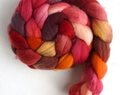 Targhee Wool Roving - Hand Painted Spinning or Felting Fiber, Engine's Running