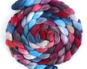 Merino/ Superwash Merino/ Silk Roving (Top) - Handpainted Spinning or Felting Fiber, Bright Open Sky