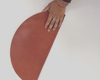 Half Moon Honey Leather Clutch