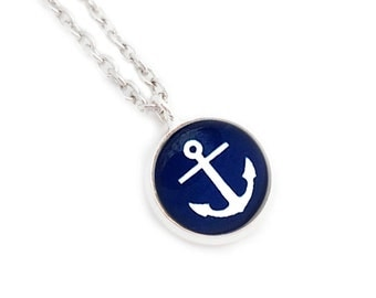 Anchor Blue Nautical Silver Necklace Blue and White