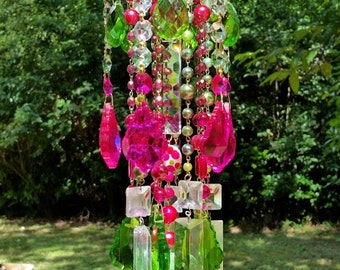 Pink and Green Antique Crystal Wind Chime, Colorful Crystal Wind Chime, Sun Catcher, Garden Decoration