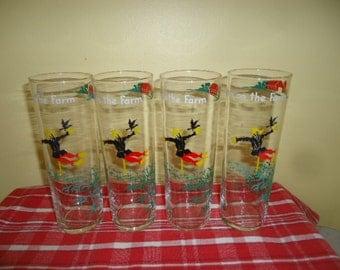 "Retro 4 Vintage ""Down on the Farm"" Scarecrow Barn Tall 7"" tall Tumblers Glasses"