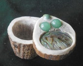 RESERVED for FLW Abalone Shell  Aventurine Goddess Carved Shed Elk Antler Box  Large Size  Cruelty Free  Semiprecious Stone Gemstone Inlay