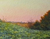 Day's End, original watercolour ACEO, tiny painting