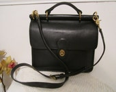 Leather COACH purse Willis style messenger bag  Vintage Coach purse Black leather purse.
