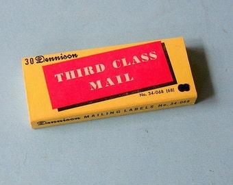 Vintage Dennison Labels Vintage Dennison Third Class Mail Labels Stickers Vintage Box
