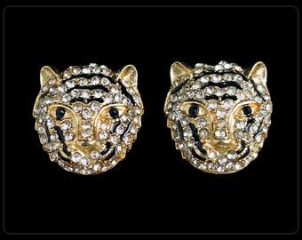 Vintage Pavé Rhinestone & Enamel TIGER HEAD 3D Figural Post Earrings FINE w Box