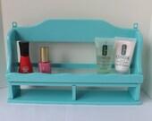 Vintage aqua blue wood spice rack, painted kitchen shelf, bathroom shelf, nail polish organizer, makeup storage, rv storage shelf