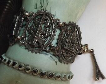 Vintage Paris souvenir panel bracelet silver tone Eiffel tower dangle charm Opera House Arc de Triomphe Notre Dame Sacre Coeur