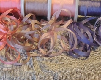 4mm 12 color selection silk ribbon Pastel assortment 5 yards each color, 60 yards