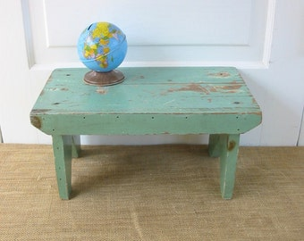 Vintage Green Stool, Vintage Bench, Primitive Rustic Stool, Mint Green Stool, Wood Stool, Shabby Cottage Chic Stool